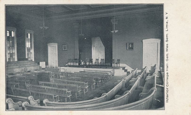 Interior College Hall - Lima, New York - Genesee Weleyan Seminary - Undivided Back