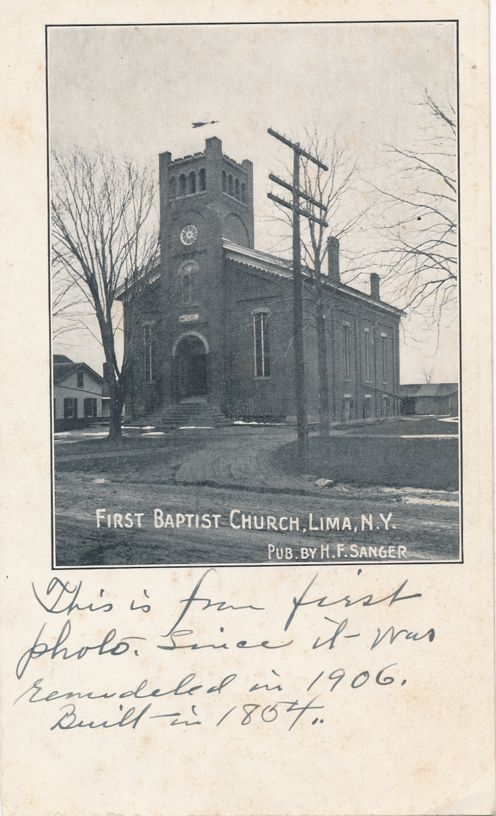 Lima, New York - First Photo of Baptist Church after 1906 Remodeling - Undivided Back