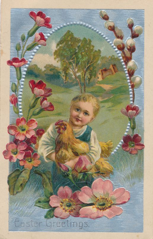 Easter Greetings - Boy with Rooster and Spring Flowers - PBF - Divided Back