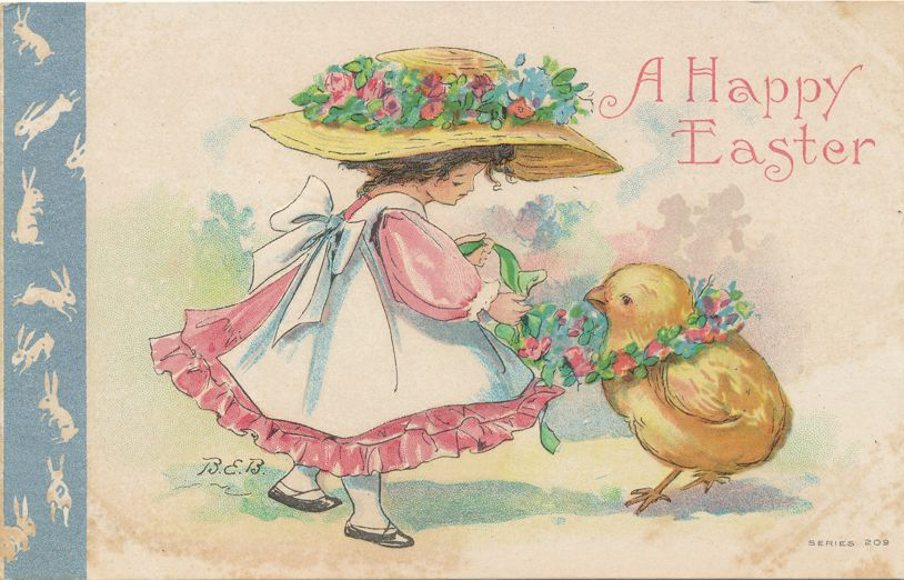 Easter Greetings - Girl Fancy Hat with Chick - a/s BEB Bertha E Blodgett - Divided Back