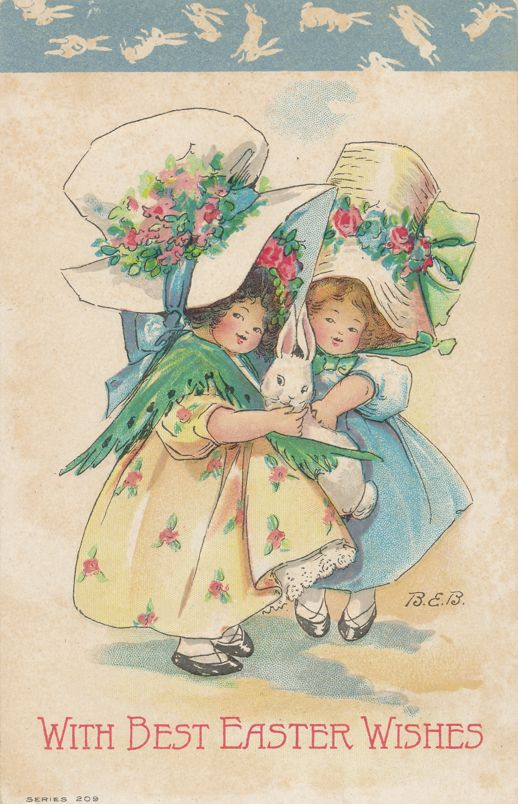 Easter Greetings - Girls Fancy Hats with Rabbit - a/s BEB  Bertha E Blodgett - Divided Back
