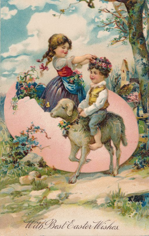 Easter Greetings - Girl in Egg placing flowers on Boy riding Lamb - PBF - Divided Back