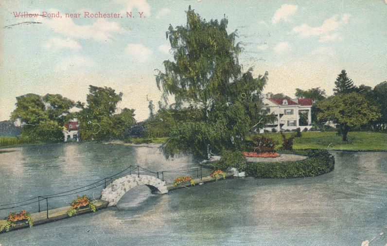 Rochester, New York - Foot Bridge in Willow Pond - pm 1910 - Divided Back