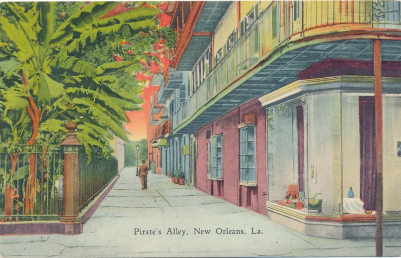 New Orleans, Louisiana - Pirate's Alley - Linen Card