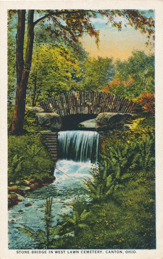 Canton, Ohio - Stone Bridge in West Lawn Cemetery - White Border