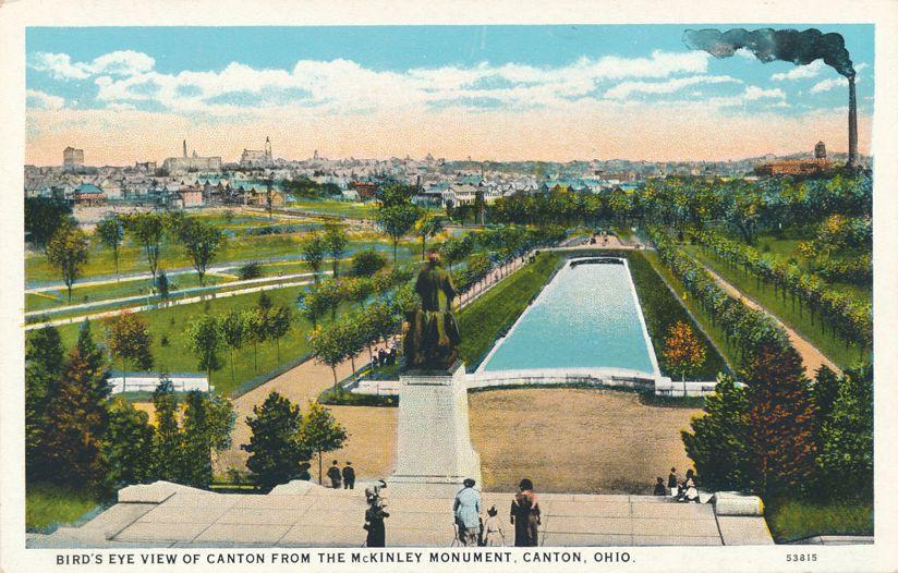 Canton, Ohio - Bird's Eye View from McKinley Monument - White Border