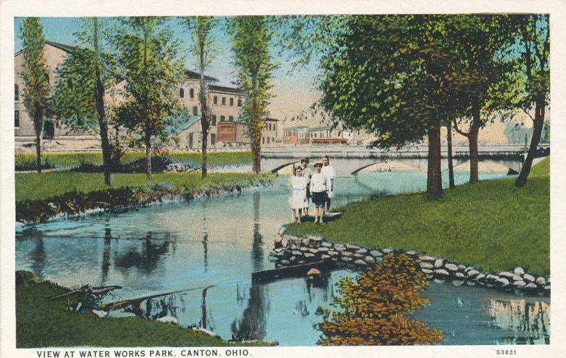 Canton, Ohio - Children at Water Works Park - White Border