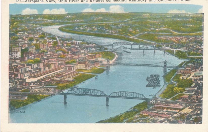 Cincinnati, Ohio - Aerial View of Ohio River and Bridges - White Border