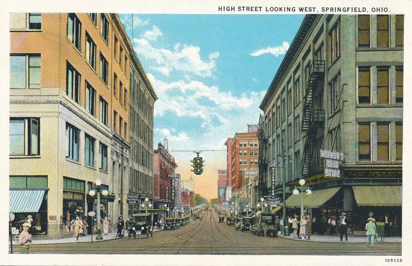 Springfield, Ohio - Trolley Tracks on High Street Looking West - White Border