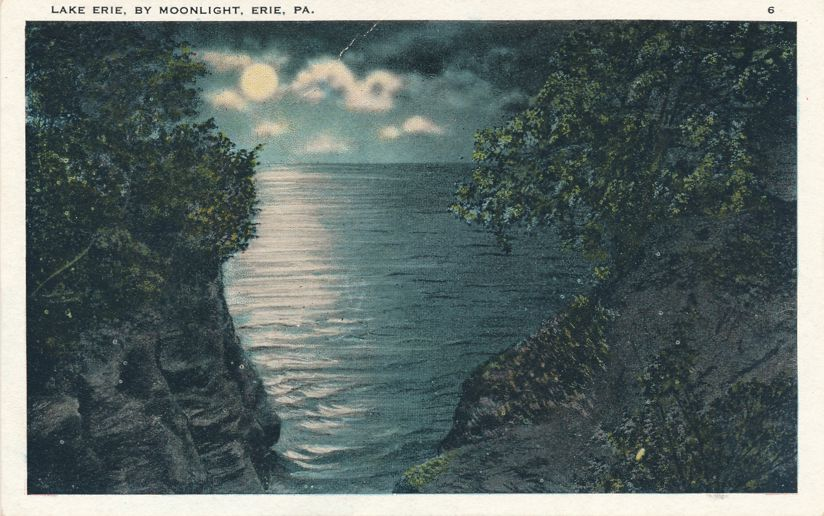Lake Erie by Moonlight - Erie, Pennsylvania - White Border