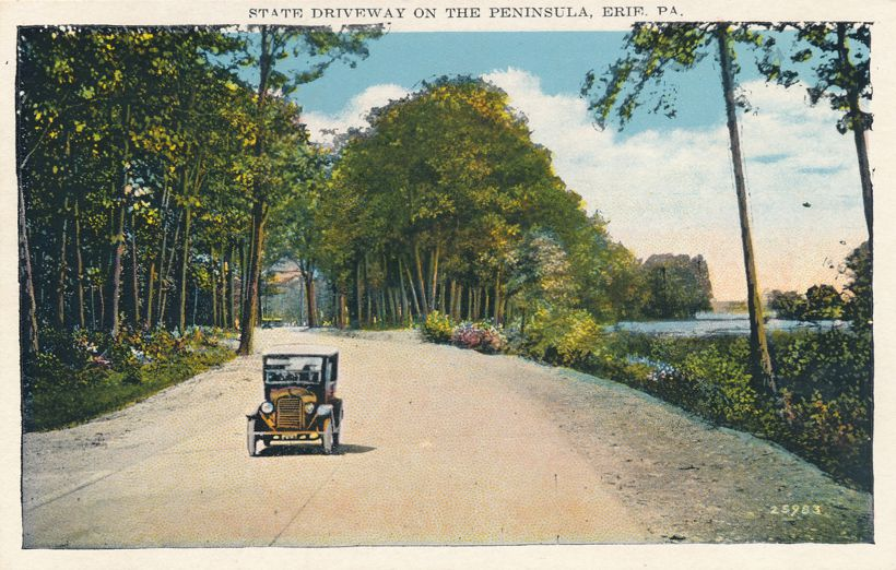 Erie, Pennsylvania - Old Car on State Driveway - Highway on Peninsula - White Border