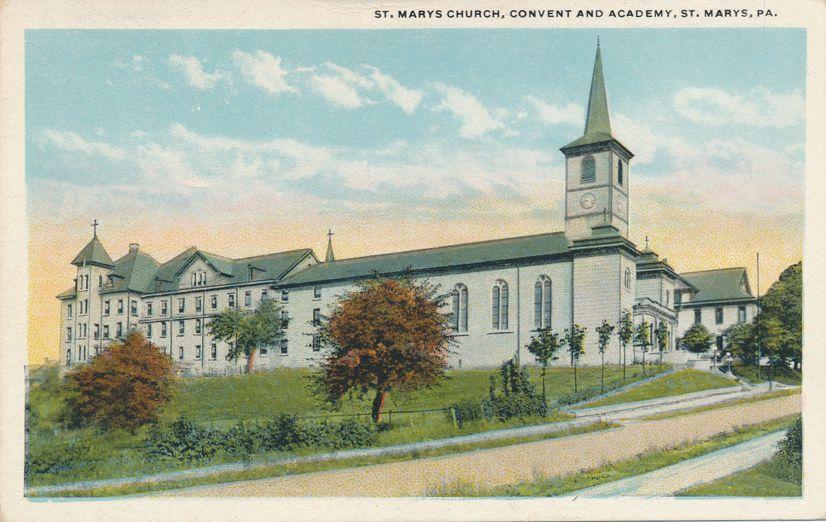 St Marys, Pennsylvania - Church Convent and Academy - White Border