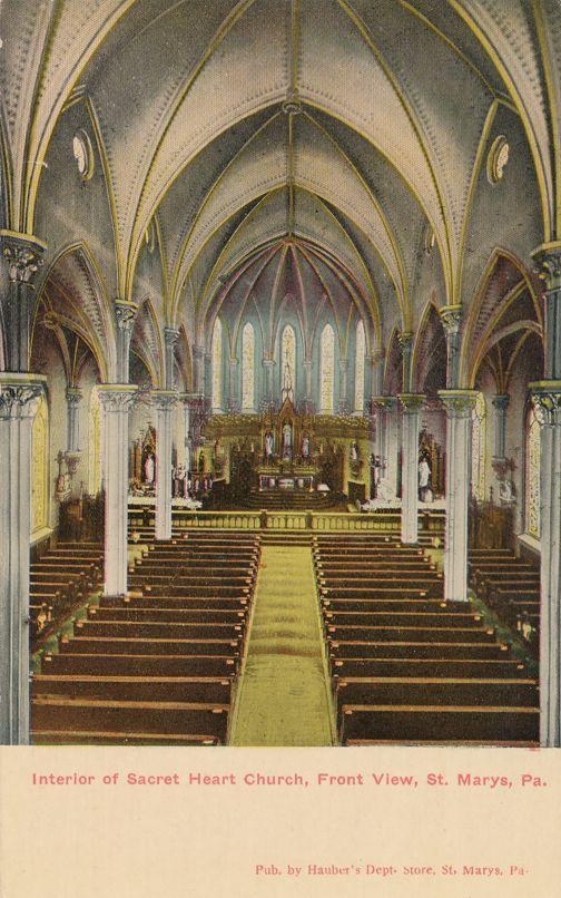 St Marys, Pennsylvania - Interior Sacred Heart Church - Divided Back