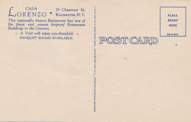 Casa Lorenzo's Restaurant Dining Room - Rochester, New York - Linen Card