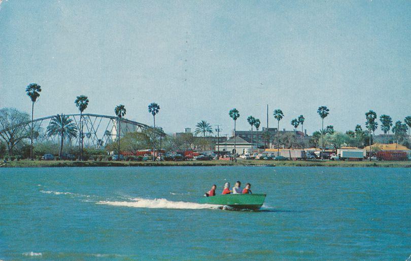 Brownsville, Texas - Boating on Fort Brown Lake near Rio Grande Bridge - pm 1961