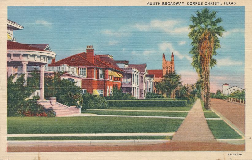 Corpus Christi, Texas - Homes on South Broadway - Linen Card