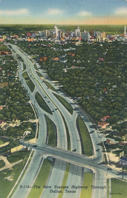 Dallas, Texas - The New Express Highway - pm 1950 - Linen Card