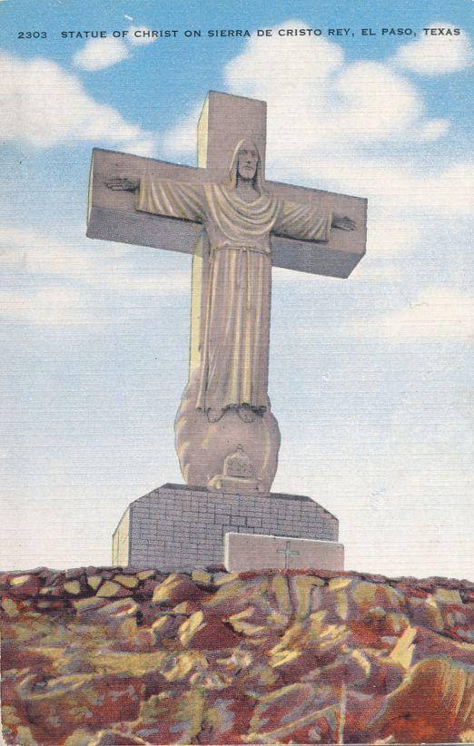 El Paso, Texas - Statue of Christ on Sierra de Cristo Rey - Roadside - Linen Card