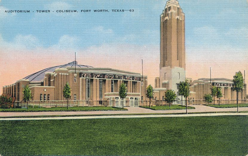 Fort Worth, Texas - Will Rogers Memorial Auditorium - Tower and Coliseum - Linen Card