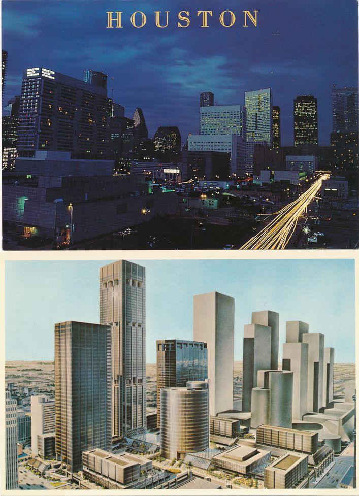 (4 cards) Houston, Texas - Downtown - Skyline - Evening Views
