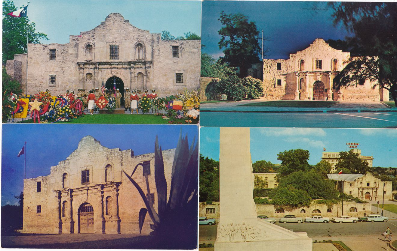 (4 cards) San Antonio, Texas - The Alamo - Church and Fort