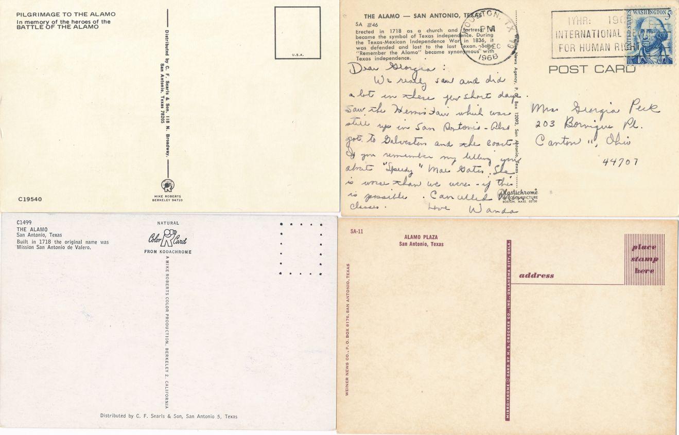 (4 cards) San Antonio, Texas - The Alamo - Church and Fort