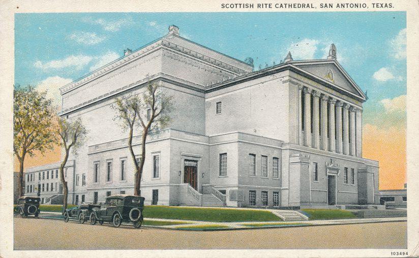 San Antonio, Texas - Scottish Rite Masonic Cathedral - pm 1926 - White Border