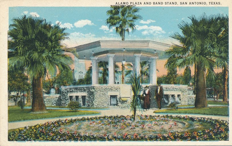 San Antonio, Texas - Alamo Plaza and Band Stand - White Border