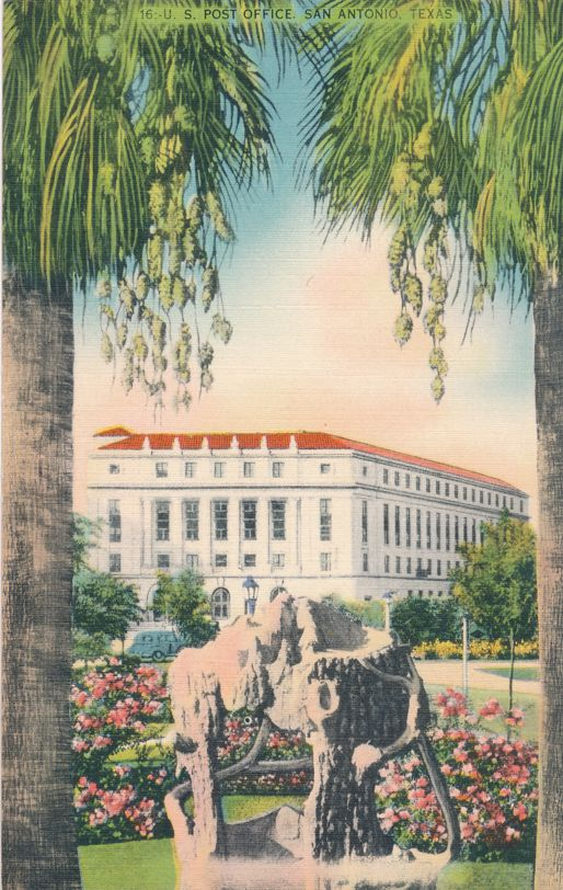 San Antonio, Texas - Post Office from the Plaza - Linen Card