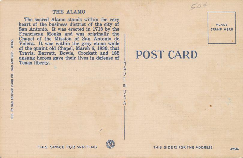 San Antonio, Texas - Courtyard at The Alamo - Linen Card