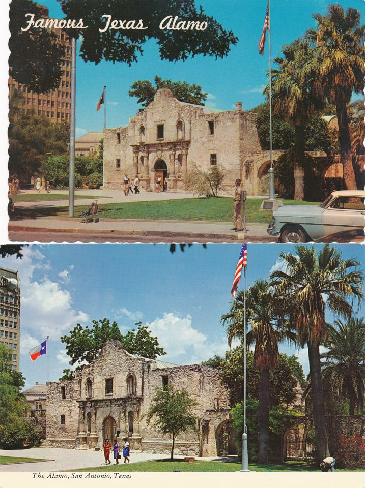 (4 cards) San Antonio, Texas - Famous Historic Alamo erected in 1718