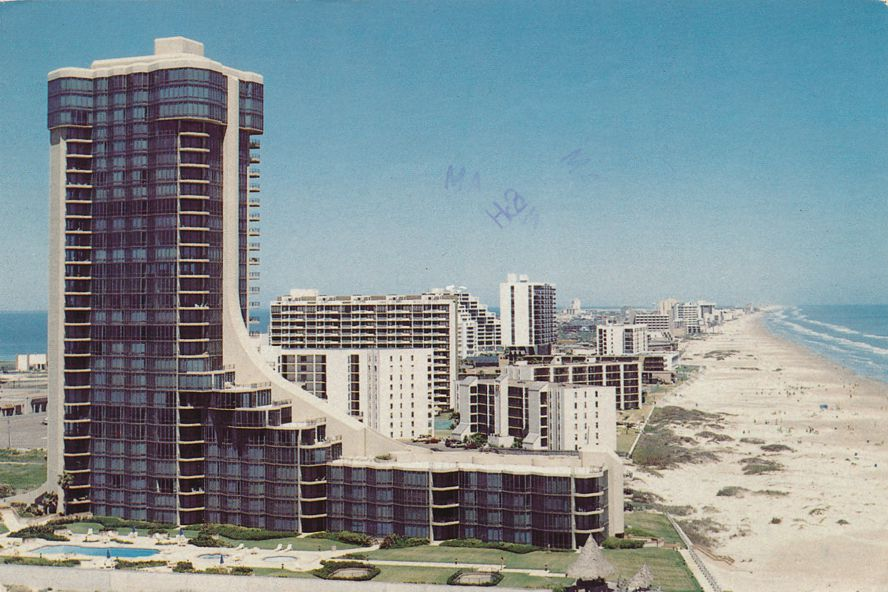 South Padre Island, Texas - Resort Area - Hotels and Beach - pm 1987 at McAllen TX