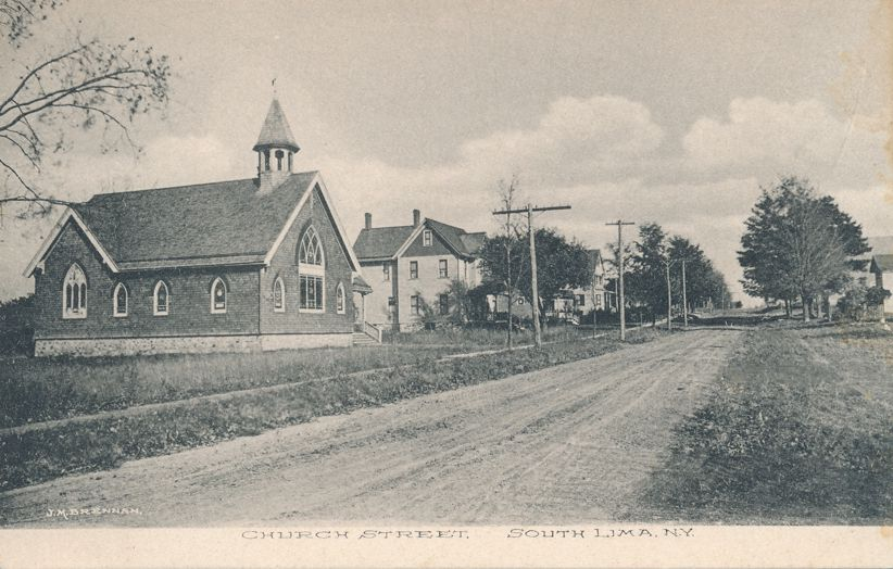 Church on Church Street at South Lima, New York - Divided Back