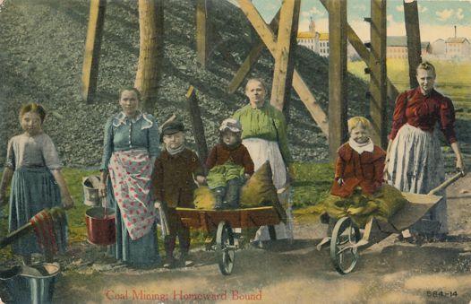 Coal Pickers Children Women Coal Scavengers - Mailed at Scranton, Pennsylvania - pm 1912 at Scranton PA - Divided Back