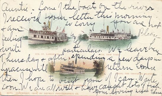 Thousand Island Steamers - New York, St Lawrence and Island Wanderer - DPO 1903 at Thousand Island Park - Undivided Back