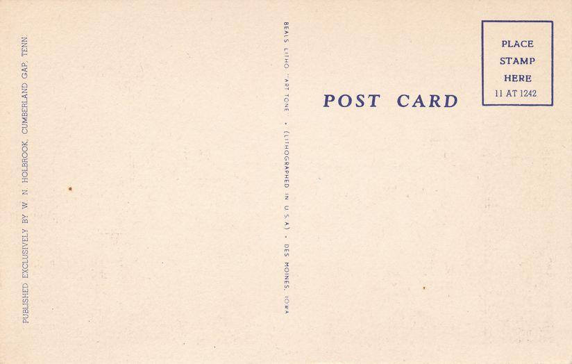 Cumberland Gap, Tennessee - Lincoln Memorial University - Linen Card