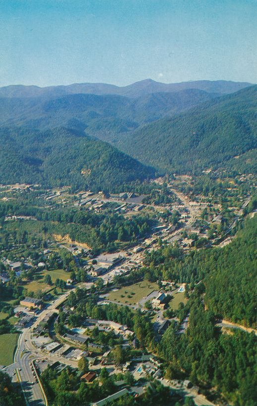 Aerial View of Gatlinburg, Tennessee - Entrance to Great Smoky Mountains