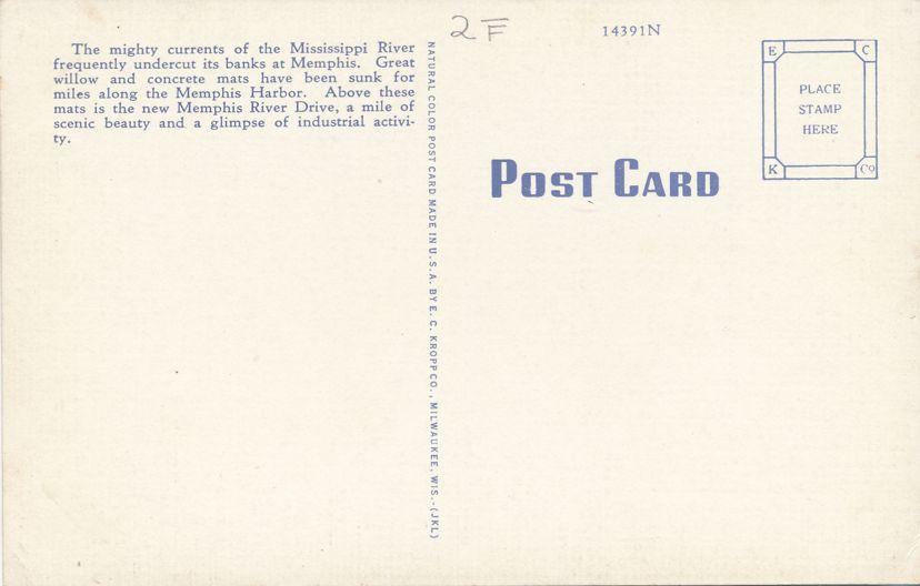 Memphis, Tennessee - Riverside Drive - Linen Card
