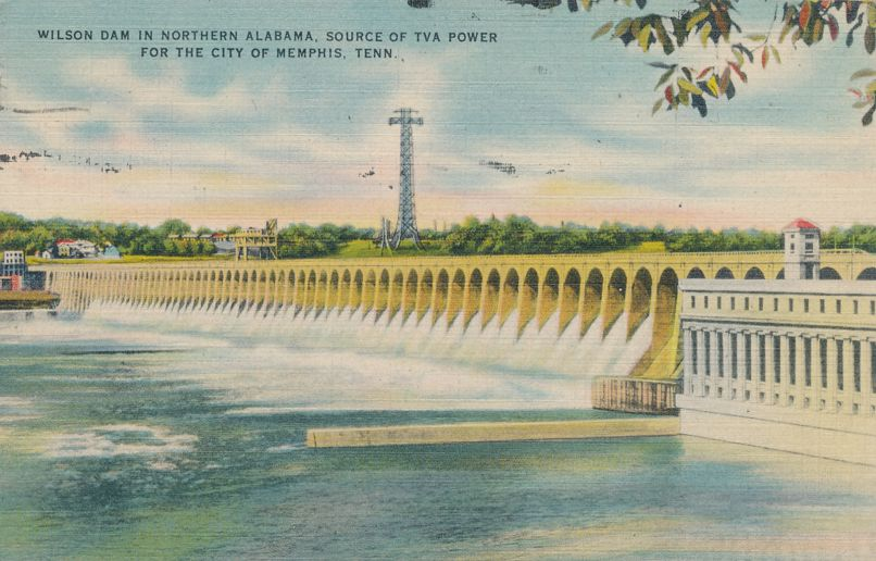 Wilson Dam in Northern Alabama - TVA Power for Memphis, Tennessee - pm 1949 - Linen Card