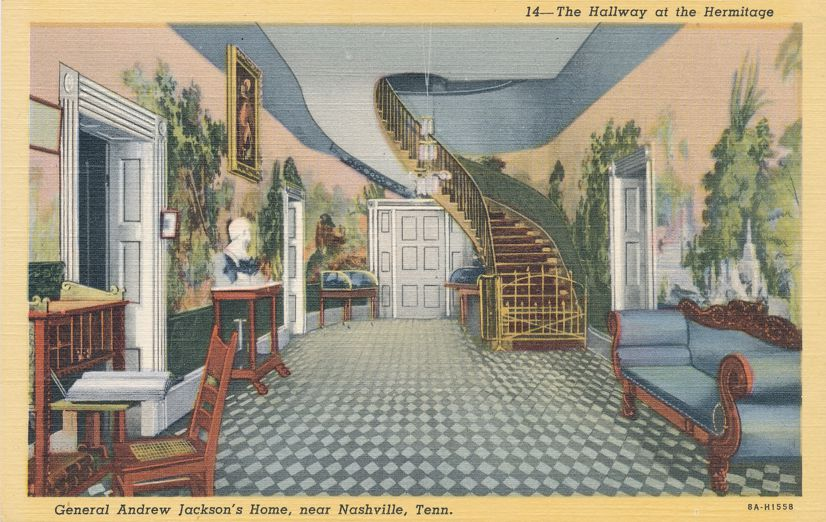 Nashville, Tennessee - Hallway at the Hermitage - Andrew Jackson Home - Linen Card