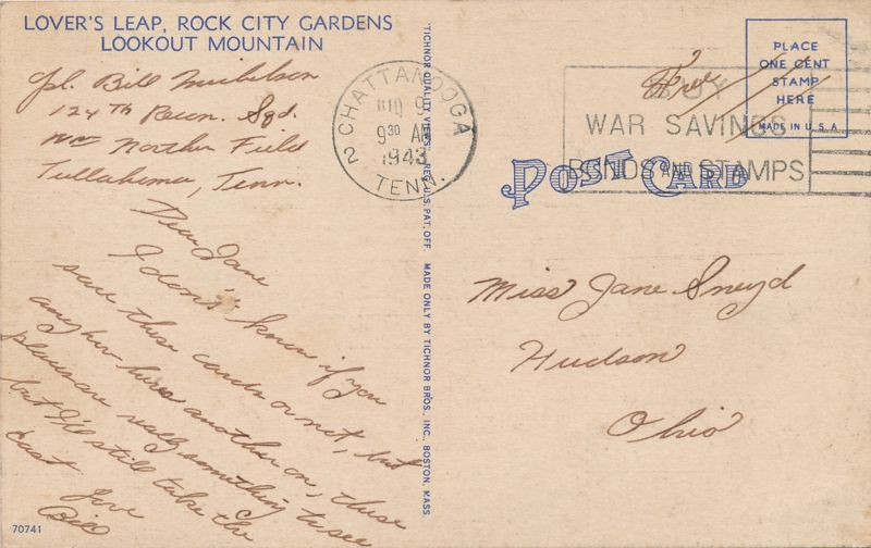 Rock City Gardens, Tennessee - Lovers Leap on Lookout Mountain - pm 1943 at Chattanooga TN - Linen Card