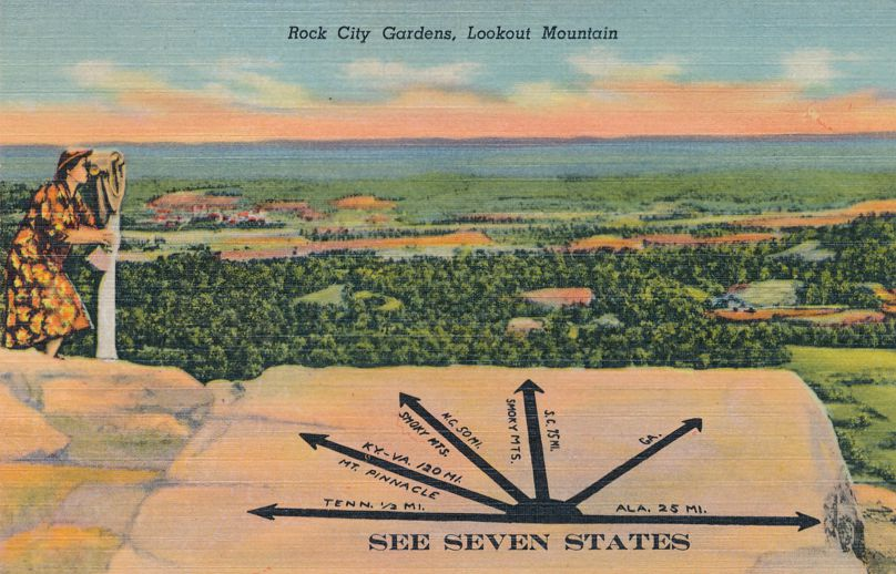 Rock City Gardens, Tennessee - See Seven States from Lookout Mountain - Linen Card