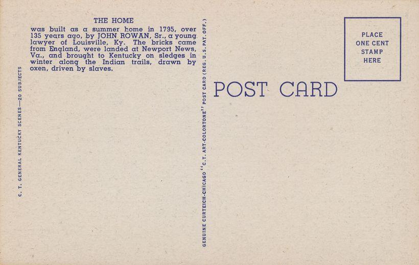 Bardstown, Kentucky - Federal Hill - My Old Kentucky Home - Linen Card