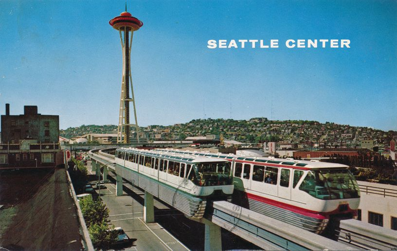 Alweg Monorail and Space Needle - Seattle Cemter, Washington - pm 1967