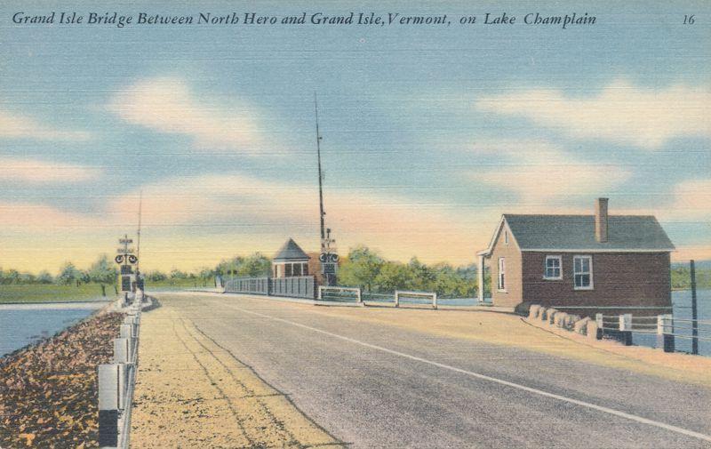 Grand Isle Bridge between North Hero and Grand Isle - Lake Champlain, Vermont - Linen Card