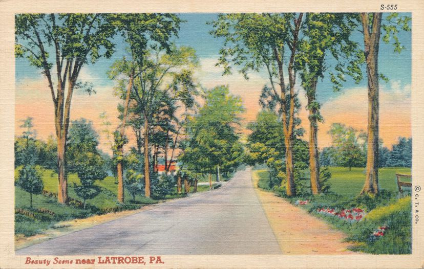Latrobe, Westmoreland County, Pennsylvania - Beauty Scene on Rural Road - pm 1940 - Linen Card