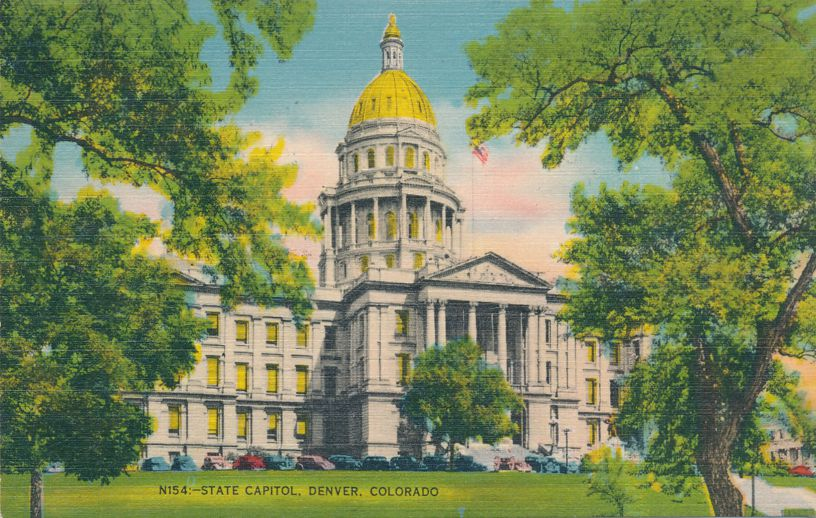 Denver, Colorado - State Capitol - Linen Card