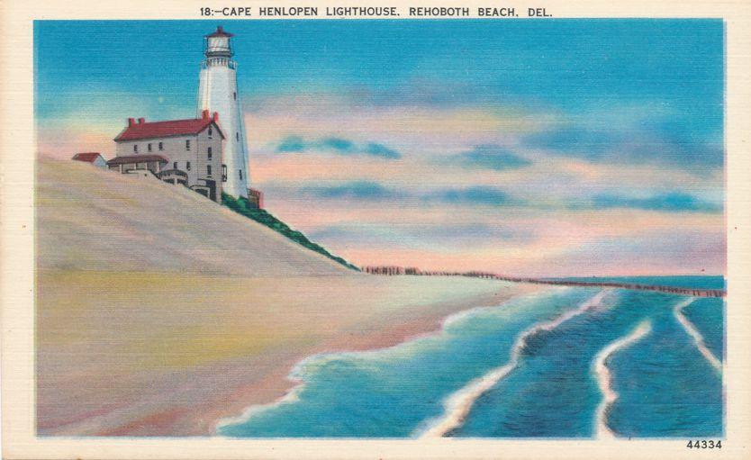 Rehoboth Beach, Delaware - Cape Henlopen Lighthouse - Linen Card
