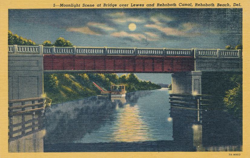 Rehoboth Beach, Delaware - Moonlight Bridge over Lewes and Rehoboth Canal - Linen Card