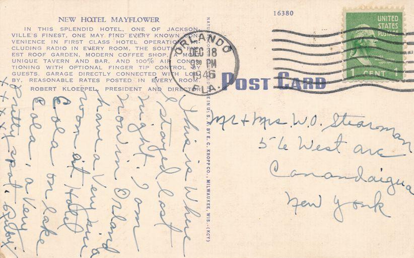 Jacksonville, Florida - New Hotel Mayflower - Linen Card